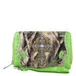 GREEN MOSSY CAMO RHINESTONE CROSS LOOK ZIPPER WALLET CB3-0404GRN