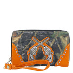 ORANGE MOSSY CAMO RHINESTONE PISTOLS LOOK ZIPPER WALLET CB3-1208ORG