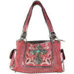 HOT PINK STITCHED CROSS  DESIGN LOOK SHOULDER HANDBAG HB1-CHF1118HPK