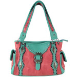 HOT PINK STITCHED BUCKLE DESIGN LOOK SHOULDER HANDBAG HB1-CHF1117HPK