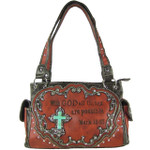 RED BIBLE VERSE STUDDED RHINESTONE CROSS LOOK SHOULDER HANDBAG HB1-CHF1121RED