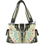 BEIGE BUTTERFLY BUCKLE STUDDED RHINESTONE CROSS LOOK SHOULDER HANDBAG HB1-CHF1102BEI