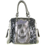 GRAY SEQUENCE SKULL STUDDED RHINESTONE LOOK SHOULDER HANDBAG HB1-AB8819GRY