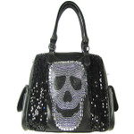 BLACK SEQUENCE SKULL STUDDED RHINESTONE LOOK SHOULDER HANDBAG HB1-AB8819BLK
