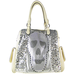 BEIGE SEQUENCE SKULL STUDDED RHINESTONE LOOK SHOULDER HANDBAG HB1-AB8819BEI