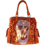 RED SEQUENCE SKULL STUDDED RHINESTONE LOOK SHOULDER HANDBAG HB1-AB8819RED