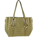 BROWN FLAT DIAMOND STITCH DESIGN LOOK SHOULDER HANDBAG HB1-843BRN