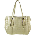 GOLD FLAT DIAMOND STITCH DESIGN LOOK SHOULDER HANDBAG HB1-843GLD