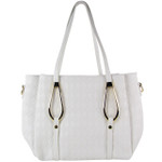WHITE FLAT DIAMOND STITCH DESIGN LOOK SHOULDER HANDBAG HB1-843WHT
