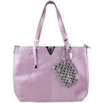 PURPLE STRIPED FLAT STUDDED DESIGN LOOK SHOULDER HANDBAG WITH ATTACHABLE POUCH HB1-1153PPL