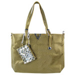 BROWN STRIPED FLAT STUDDED DESIGN LOOK SHOULDER HANDBAG WITH ATTACHABLE POUCH HB1-1153BRN