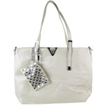 WHITE STRIPED FLAT STUDDED DESIGN LOOK SHOULDER HANDBAG WITH ATTACHABLE POUCH HB1-1153WHT