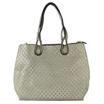GRAY PATTERN STITCHING FLAT STUDDED DESIGN LOOK SHOULDER HANDBAG HB1-849GRY