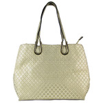 GOLD PATTERN STITCHING FLAT STUDDED DESIGN LOOK SHOULDER HANDBAG HB1-849GLD