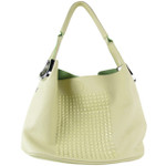 BEIGE STUDDED FLAT STUDDED DESIGN LOOK SHOULDER HANDBAG HB1-AB9038BEI
