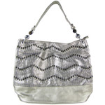 GRAY CHEVRON LASER CUT DESIGN LOOK SHOULDER HANDBAG HB1-AB9033GRY