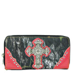 HOT PINK MOSSY CAMO RHINESTONE CROSS LOOK ZIPPER WALLET CB3-0407HPK
