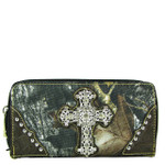 BROWN MOSSY CAMO RHINESTONE CROSS LOOK ZIPPER WALLET CB3-0407BRN