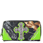 GREEN MOSSY CAMO RHINESTONE CROSS LOOK ZIPPER WALLET CB3-0407GRN