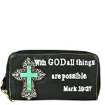 BLACK BIBLE VERSE METAL BLUE CROSS LOOK ZIPPER WALLET CB3-0408BLK