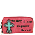 HOT PINK BIBLE VERSE METAL BLUE CROSS LOOK ZIPPER WALLET CB3-0408HPK