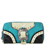 TURQUOISE STUDDED BUCKLE LOOK ZIPPER WALLET CB3-1210TRQ