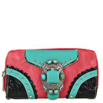 HOT PINK STUDDED BUCKLE LOOK ZIPPER WALLET CB3-1210HPK