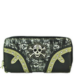 GRAY RHINESTONE SKULL LOOK ZIPPER WALLET CB3-1212GRY