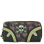 HOT PINK RHINESTONE SKULL LOOK ZIPPER WALLET CB3-1212HPK