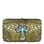 BROWN STUDDED CROSS WITH WINGS LOOK FLAT THICK WALLET FW2-04127BRN