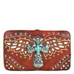 RED STUDDED CROSS WITH WINGS LOOK FLAT THICK WALLET FW2-04127RED
