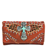 RED WESTERN SEQUENCE CROSS WITH WINGS LOOK CLUTCH TRIFOLD WALLET CW1-0473RED
