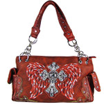 RED RHINESTONE CROSS WITH WINGS LOOK SHOULDER HANDBAG HB1-61LCRRED