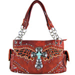 RED WESTERN CROSS WITH WINGS AND BROWN SEQUENCE LOOK SHOULDER HANDBAG HB1-52LCR-1-SRED