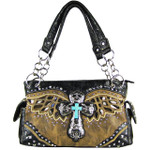 BROWN WESTERN CROSS WITH WINGS AND BROWN SEQUENCE LOOK SHOULDER HANDBAG HB1-52LCR-1-SBRN