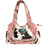 PINK COW WITH BLUE STONE LOOK SHOULDER HANDBAG HB1-CHF1116PINK