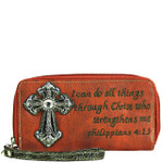 RED BIBLE VERSE RHINESTONE CROSS LOOK ZIPPER WALLET CB3-1214RED