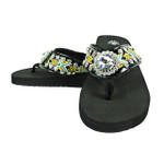 BLACK FLOWER RHINESTONE TRIBAL FASHION FLIP FLOP FF1-S061BLK