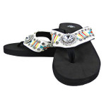 WHITE FLOWER RHINESTONE TRIBAL FASHION FLIP FLOP FF1-S062WHT