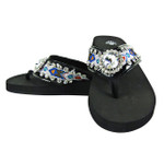 BLUE TRIBAL FLOWER RHINESTONE FASHION FLIP FLOP FF1-S063BLK