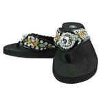 YELLOW TRIBAL FLOWER RHINESTONE FASHION FLIP FLOP FF1-S065BLK