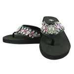 HOT PINK TRIBAL FLOWER RHINESTONE FASHION FLIP FLOP FF1-S066BLK