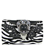 BLACK ZEBRA RHINESTONE BUCKLE LOOK CLUTCH TRIFOLD WALLET CW1-1288BLK