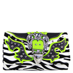 GREEN ZEBRA RHINESTONE BUCKLE LOOK CLUTCH TRIFOLD WALLET CW1-1288GRN