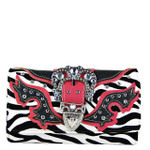HOT PINK ZEBRA RHINESTONE BUCKLE LOOK CLUTCH TRIFOLD WALLET CW1-1288HPK