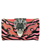 BLACK WITH HOT PINK ZEBRA RHINESTONE BUCKLE LOOK CLUTCH TRIFOLD WALLET CW1-1288BLK/HPK