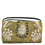 BROWN FLOWER TOOLED LOOK CLUTCH TRIFOLD WALLET CW1-1286BRN