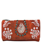 RED FLOWER TOOLED LOOK CLUTCH TRIFOLD WALLET CW1-1286RED