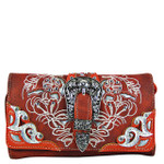 RED STUDDED BUCKLE LOOK CLUTCH TRIFOLD WALLET CW1-1287RED
