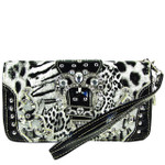 BLACK LEOPARD RHINESTONE BUCKLE STITCHED LOOK ZIPPER WALLET CB3-1215BLK